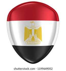3d rendering of an Egypt flag icon on white background.
