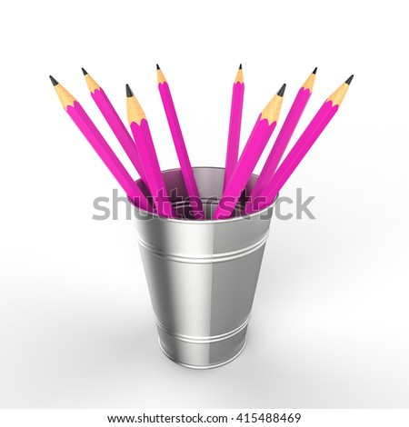 3 D Rendering Eight Pink Colored Wooden Stock Illustration 415488469