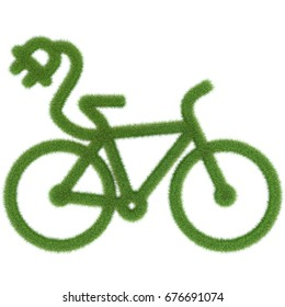 3D rendering: electric bicycle icon made out of grass