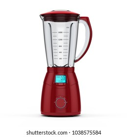 3D rendering electric blender of red color on a white background