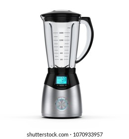 3D rendering electric blender of silver color on a white background