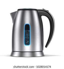3D rendering electric kettle of silver color on a white background