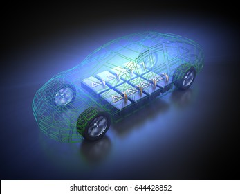 3D rendering: electric vehicle in motion with open carbody with view at the battery pack