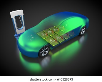 3D rendering: electric vehicle with open carbody with view at the battery pack and the electric car charging point