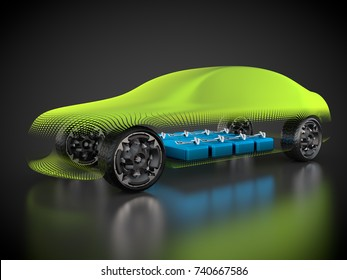 3D rendering: electric vehicle with open carbody with view at the battery pack