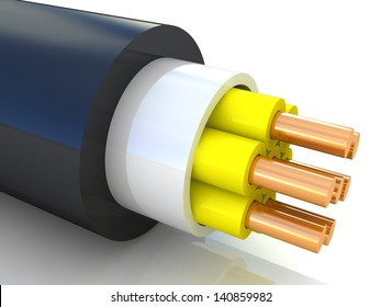 3D rendering of an electrical cable