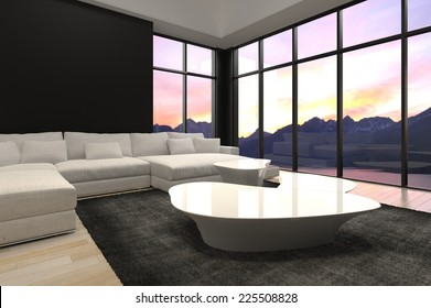 3D Rendering of Elegant Black and White Architectural Living Room Design with Transparent Glass Walls Style.