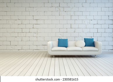3D Rendering of Elegant White Couch with White and Blue Green Pillows on an Empty Room with Seamless White Block Pattern Wall Design and Wooden Floor.