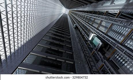 3d rendering. An Elevator shaft