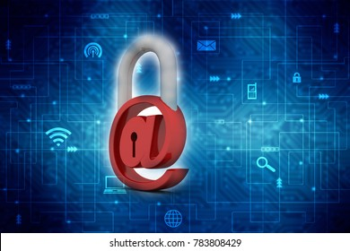 3d rendering E-mail symbol with lock. Internet security concept