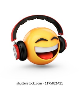3D Rendering emoji with headphones isolated on white background