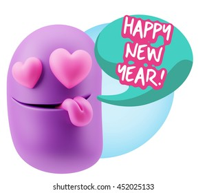 emoji saying happy new year with colorful speech bubble