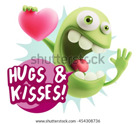 3 d rendering emoji saying hugs kisses stock illustration 454308736