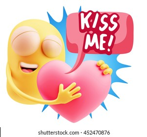 3d Rendering. Emoji saying Kiss Me with Colorful Speech Bubble.