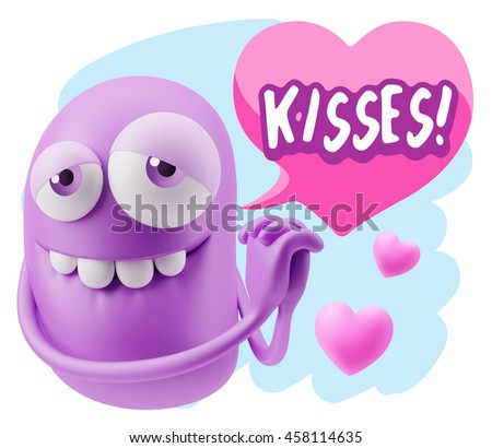 3 d rendering emoji saying kisses colorful stock illustration