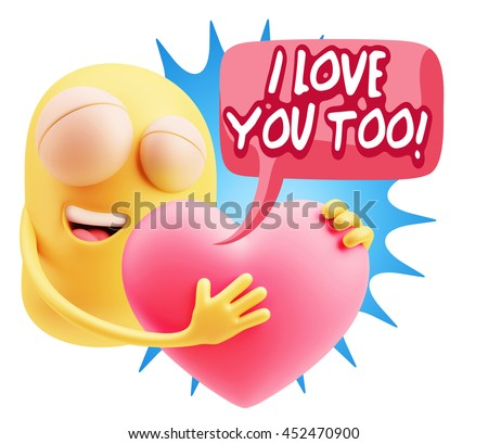 emoji saying i love you too with colorful speech bubble