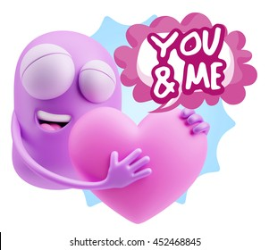 3d Rendering. Emoji saying You And Me with Colorful Speech Bubble.