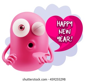 emoticon face saying happy new year with colorful speech bubble