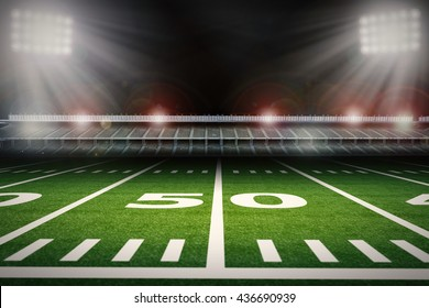 3d rendering empty american football stadium at night