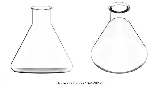3d rendering empty beaker or laboratory glassware isolated on white
