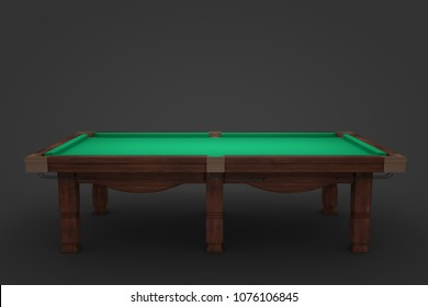 3d rendering of an empty billiard table in side view on a dark background. Leisure games. High stakes. Recreational equipment.