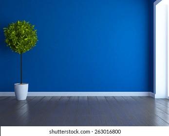 3d rendering empty blue room
