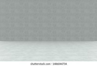 3d rendering. Empty cement cornor room wall design background.