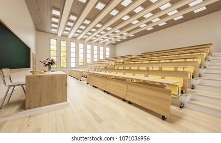 3D Rendering of an Empty Classroom