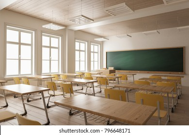 3d rendering of Empty Classroom for Large Classes