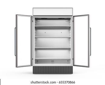 3d rendering empty commercial fridge with glass doors open