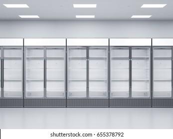 3d rendering empty commercial fridges in store