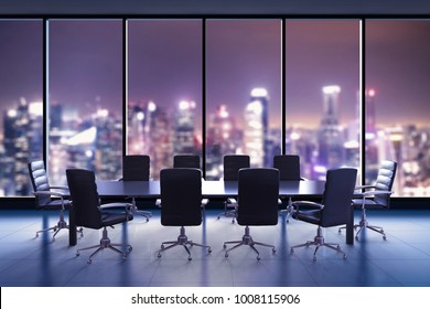 3d rendering empty conference room or office space with table and chairs