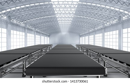 3d rendering empty conveyor belt in factory