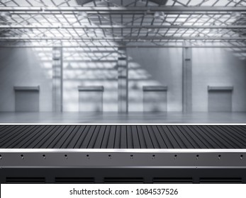 3d rendering empty conveyor line in factory