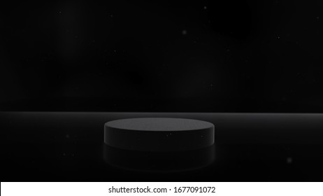3D Rendering, Empty cylinder podium, vacant pedestal. Modern minimal motion design. Product display, platform, stand. Commercial showcase mockup.