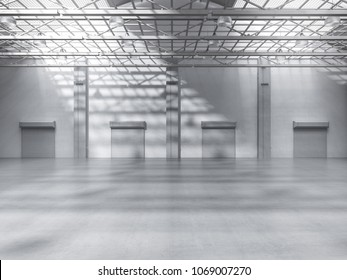 3d rendering empty factory interior with pendant lamps