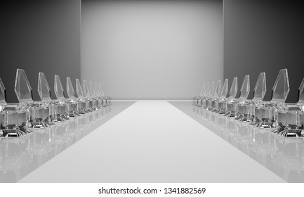 3d rendering of an empty fashion show catwalk