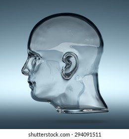 3d rendering of empty glass transparent human head