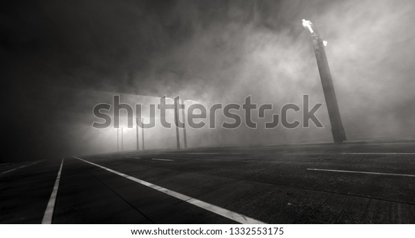3d Rendering Empty Highway Leads Nowhere Stock Illustration