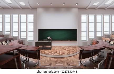3D rendering of Empty Lecture Room