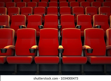 3D rendering of an empty movie theatre