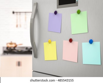 3d rendering empty notes on refrigerator