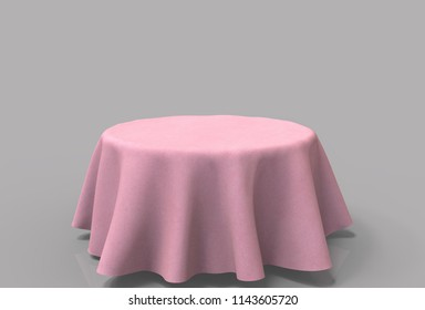 3d rendering. empty pink cloth coverred on table with copy space gray background.