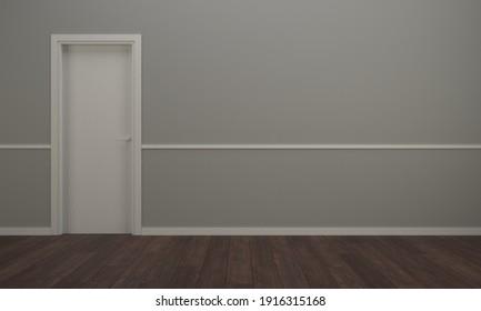 3d rendering of an empty room with a door, wooden floor and grey wall