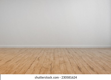 3D Rendering of Empty Room Interior with Off White Wall Plain Wall and Wooden Floor design.