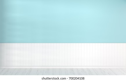 3D rendering of empty room pastel blue wall and white plank floor for advertising product.