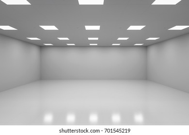 3d rendering empty room with white wall and floor