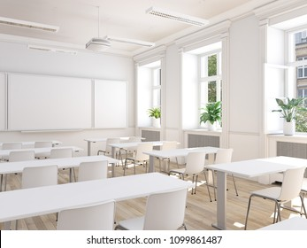 3d rendering. empty school classroom. education concept