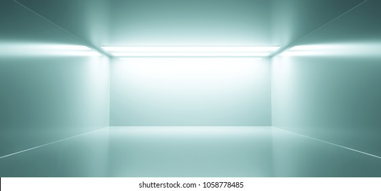 3D Rendering Of Empty Sci Fi Futuristic Room With Light Blue Lights