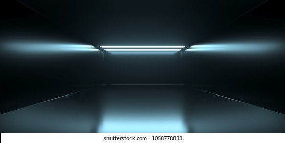 3D Rendering Of Empty Sci Fi Futuristic Dark Room With Light Blue Lights